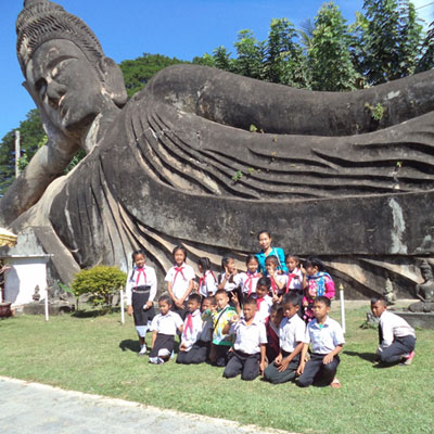 Group by reclining buddha