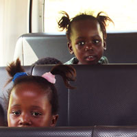Children on the minibus