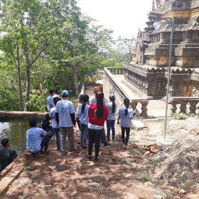 Students by a temple