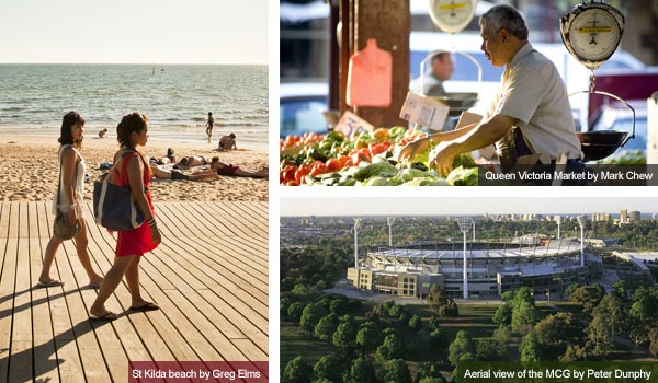 St Kilda, Queen Victoria Market and the MCG, Victoria. Photos from Victoria Tourist Board