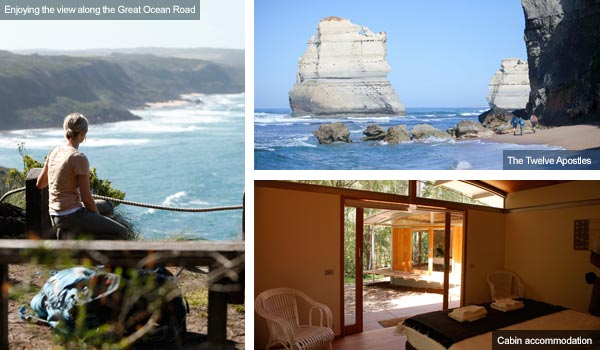 Great Ocean Road view, the Twelve Apostles and a cabin accommodation, Victoria. Photos by Victoria Tourist Board