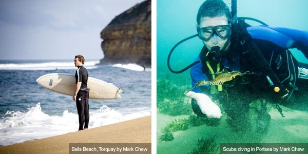 Surfer and scuba diver, Victoria. Photos from Victoria Tourist Board