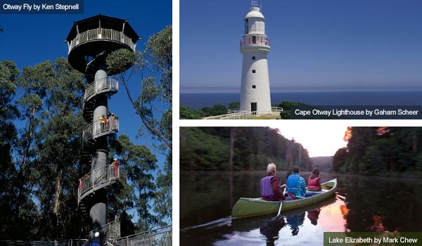 Otway Fly, Cape Otway Lighthouse and Lake Elizabeth, Victoria. Photos by Victoria Tourist Board
