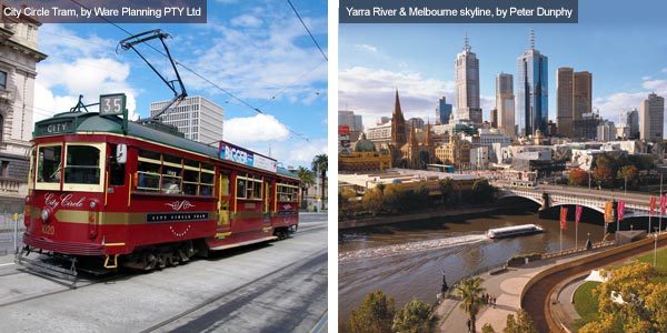 City Circle tram and Yarra River, Victoria. Photos from Victoria Tourist Board