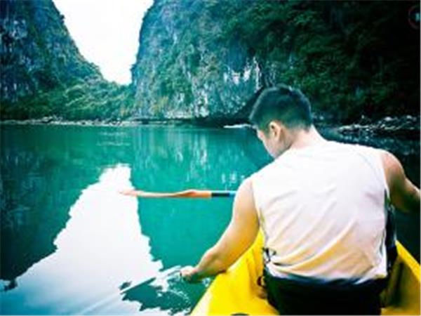 Sea kayaking in Halong bay, Vietnam