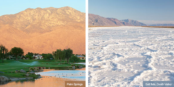 Palm Springs at sunset and salt flats at death Valley