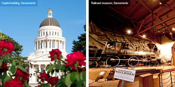 Capitol building and Railroad museum, Sacramento