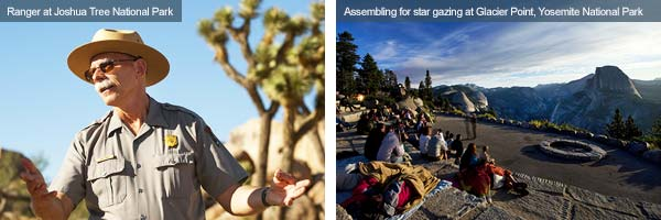 Local guide and star gazers at Joshua Tree National Park and Yosemite National Park