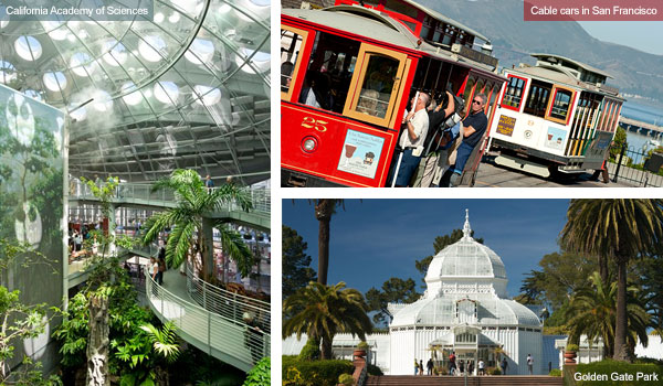 Academy of Sciences, cables cars in San Francisco and Golden Gate Park