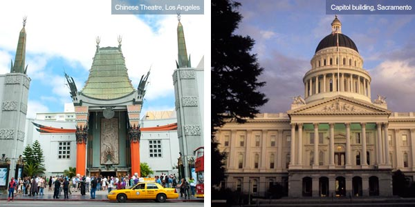 Chinese Theatre, Los Angeles and Capitol buidling, Sacramento