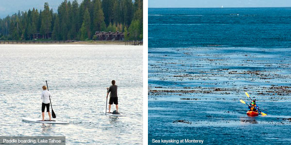 Stand up paddle boarding at Lake Tahoe and sea kayaking at Monterey