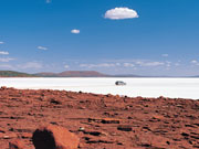 Driving on Lake Eyre, South Australia. Photo by South Australia Tourist Board