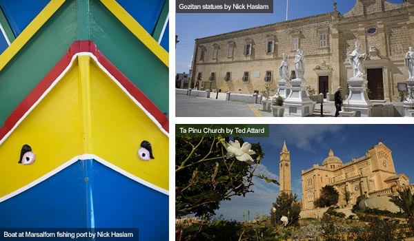 Boat, statues and church, Gozo. Photos by Nick Haslam and Ted Attard
