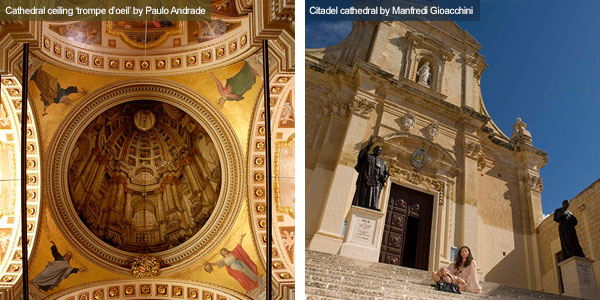 Cathedral ceiling and exterior, Gozo. Photos by Paulo Andrade and Manfredi Gioacchini