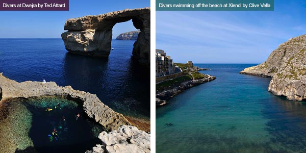 Divers at Dwejra and Xlendi, Gozo. Photos by Ted Attard and Clive Vella