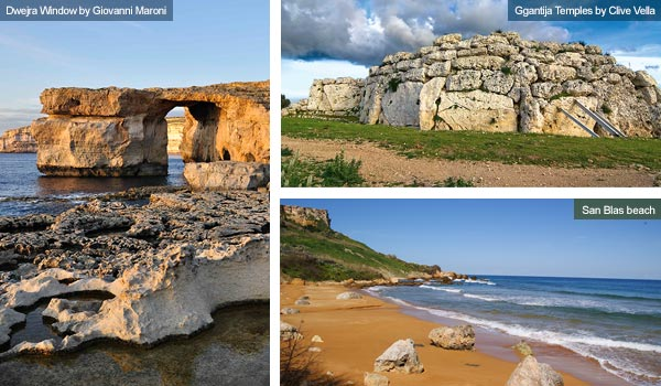 Dwejra Window, Ggantija Temple and San Blas beach, Gozo. Photos by Giovanni Maroni and Clive Vella
