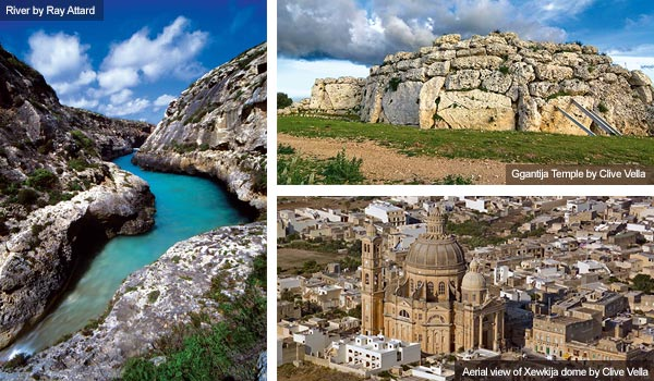 River, Ggantija temple and Xewkija dome, gozo. Photos by Ray Attard and Clive Vella