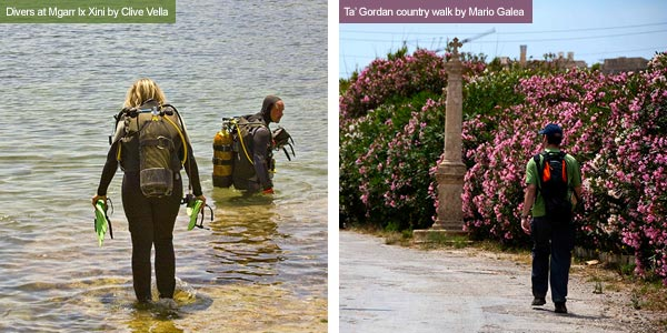 Scuba divers and walker, Gozo. Photos by Clive Vella and Mario Galea