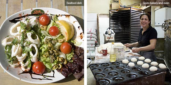 Seafood dish and bakery, Gozo. Photos by Nick Haslam