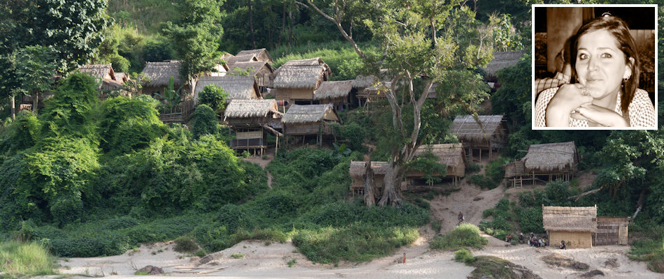 Laos village and (inset) Krista Routledge