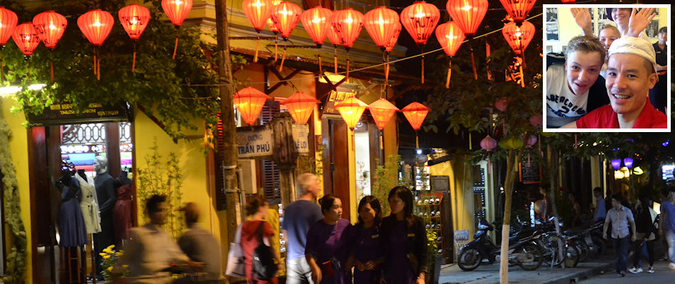 Lanterns in Hoi An and (inset) Khanh Dinh