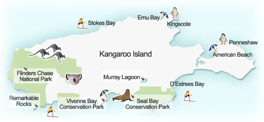 Kangaroo Island map. Illustration by Lisa Joanes
