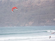 Kitesurfing in Famara, Lanzarote. Photo by Nick Haslam