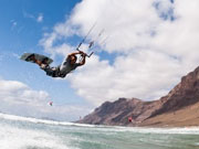 Kitesurfer leaping, Lanzarote. Photo by Lanzarote Tourist Board