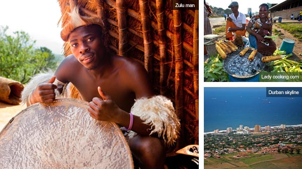 Zulu man, lady selling corn and Durban skyline, KwaZulu-Natal. Photos by Durban Tourism