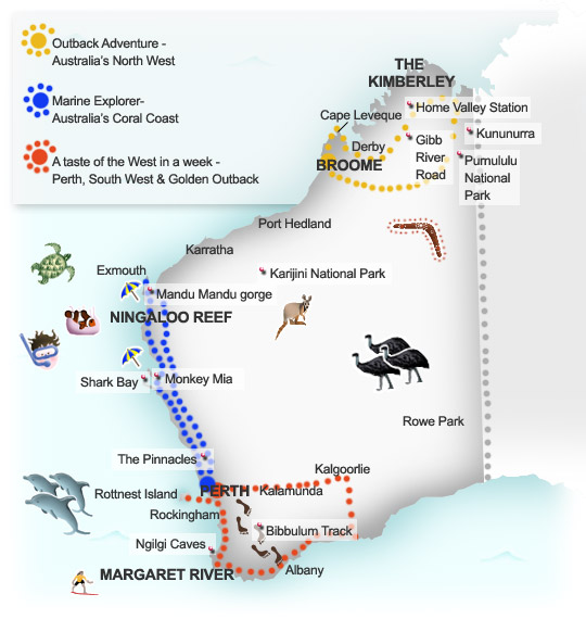 Suggested itineraries map for Western Australia. Illustration by Lisa Joanes