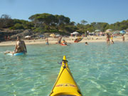 View of the beach from a kayak, Menorca. Photo by Audax Hotel
