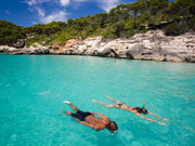 Couple snorkelling in Menorca. Photo by Audax Hotel