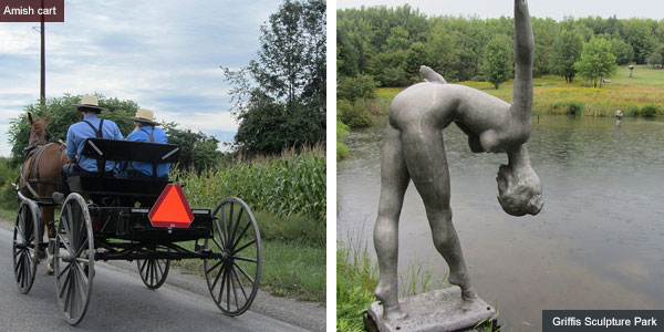 Amish cart and Griffis Sculpture Park, New York State. Photos by Catherine Mack