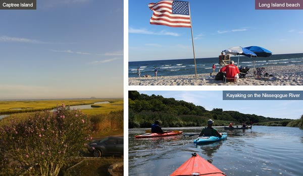 Captree Island, Long Island beach and kayaking on the River, New York State. Photos by Catherine Mack