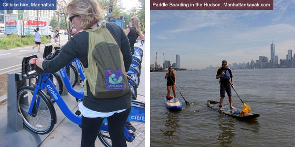 Citibike hire and paddle boarding in Manahattan, New York State. Photos by Catherine Mack and manhattankayak.com
