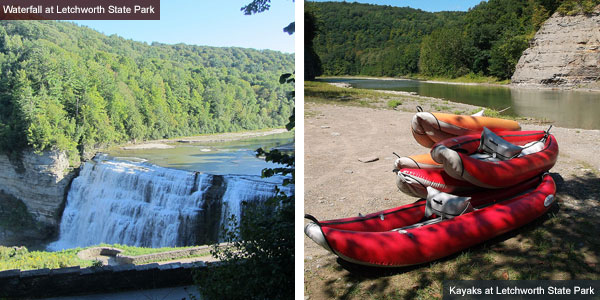 Waterfall and kayaks at Letchworth State Park, New York State. Photos by Catherine Mack
