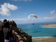 Paraglider at Mirador del Rio, Lanzarote. Photo by Nick Haslam