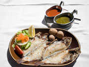 Parrot fish and Mojo dish, Lanzarote. Photo by Nick Haslam