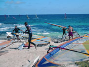 Windsurfers on the beach in Lanzarote. Photo by Lanzarote Tourist Board